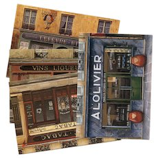 4 Paris Shop Scene Postcards by French Painter André Renoux: Tobacco, Wines, Olives and LU Biscuits