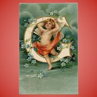 Unsigned Clapsaddle Alphabet Postcard with Angel and Forget Me Nots Pre-1903