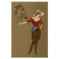 American Equestrian Bianchi Italian Artist Postcard World War I July 4 1917
