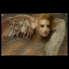 Mythological Head with Wings Angelic Thoughts by Tade Styka Lapina of Paris Postcard