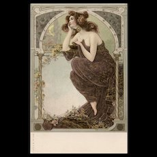 Neoclassical Beauty Pensive Day Dreamer Art Nouveau German Postcard with Gold Detailing c1898-1903