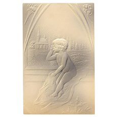 Deeply Embossed German Christmas Postcard Toddler and Church Scene