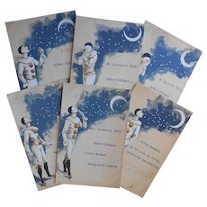 Six Pierrot Postcards Mark Wine Delivery and New Year from 1899 to 1900