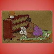 Gold Art Deco Postcard Lingerie Lady Artist Signed