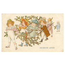 Children Carrying Pine Tree Branches Artist Signed European Postcard Christmas 1906
