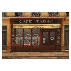 Cafe Tabac Chez Paul's Paris Shop Front by French Painter André Renoux