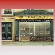 Paris Butcher Shop Front by French Painter André Renoux Vintage Postcard
