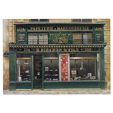 Biberon & Fils Storefront by French Painter André Renoux Unused Vintage Postcard