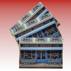 Candy Storefront in Blue by French Painter André Renoux Unused Vintage Postcard