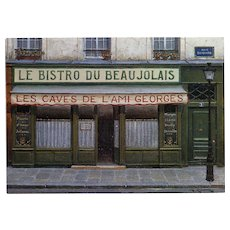 Bistro du Beaujolais by French Painter André Renoux 1998 Vintage Postcard