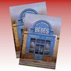 Bébés Blue Facade Doll Store by French Painter André Renoux Unused Vintage Postcard