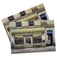 Les Jardins du Marais Florist Shop by French Painter André Renoux Unused Vintage Postcard