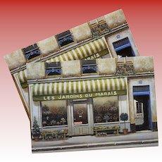 Les Jardins du Marais Florist Shop by French Painter André Renoux Unused Vintage Postcard
