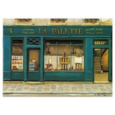 La Palette Artist Shop by French Painter André Renoux Vintage Postcard Franked 1997