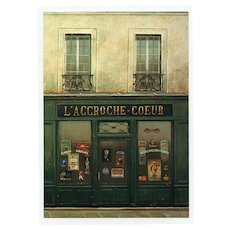 L'Accroche Coeur Poster and Sign Storefront by French Painter André Renoux 1997 Vintage Postcard