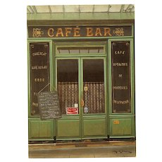 Cafe Bar with Coca-Cola Advertising Paris Storefront by French Painter André Renoux Vintage Postcard