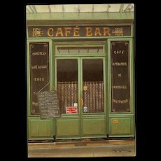Cafe Bar with Coca-Cola Advertising Paris Storefront by French Painter André Renoux Unused Vintage Postcard