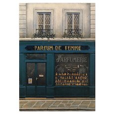 Paris Perfume Shop Parfume de Femme Storefront by French Painter André Renoux Vintage Postcard