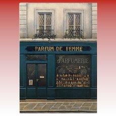Paris Perfume Shop Parfume de Femme Storefront by French Painter André Renoux Vintage Postcard