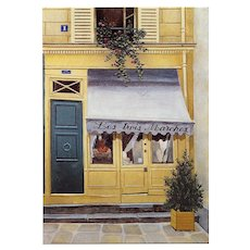 Les Trois Marches Vintage Chanel and Hermes Reseller Paris Store by French Painter André Renoux Unused Vintage Postcard