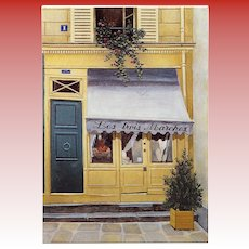 Les Trois Marches Vintage Chanel and Hermes Reseller Paris Store by French Painter André Renoux Unused Vintage Postcard