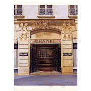 Chanel Paris Storefront by French Painter André Renoux Unused Vintage Artist Signed Postcard