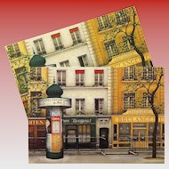 Paris Street Scene with Morris Column by French Painter André Renoux Unused Vintage Postcard