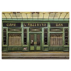 L'Absinthe Cafe and Bar Paris Shop by French Painter André Renoux Unused Vintage Postcard