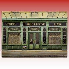 L'Absinthe Cafe and Bar Paris Shop by French Painter André Renoux Unused Vintage Postcard