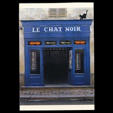 Le Chat Noir Montmarte Paris Shop Front by French Painter André Renoux