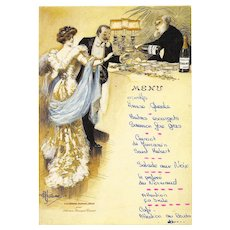 Artist Signed Belle Epoque Couple Perrier Jouët Champagne Advertising Used Menu