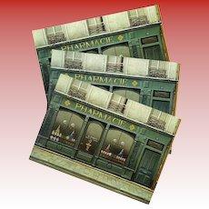 Paris Pharmacy Shop Front by French Artist André Renoux Unused Vintage Postcard