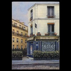 Beauvilliers Restaurant in Paris by French Painter André Renoux Franked 1988