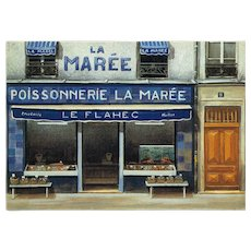 Paris Fish Shop Vintage Postcard by French Painter André Renoux
