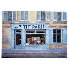 Au P'Tit Paris Unused Vintage Postcard Artist Signed André Renoux