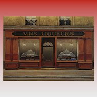 Wine and Liquor Paris Storefront by French Painter André Renoux Unused Vintage Postcard c 1980s