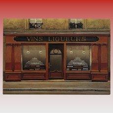 Wine and Liquor Paris Storefront by French Painter André Renoux Unused Vintage Postcard c 1980s