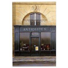 Antiquités Paris Storefront by French Painter André Renoux Unused Vintage Postcard