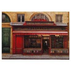 Historical Legrand Paris storefront by French painter André Renoux