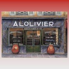 Historical Olive Oil Shop in Paris Unused Vintage Postcard by André Renoux