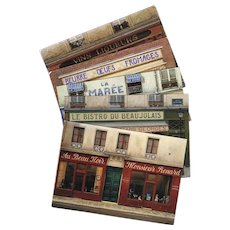 5 André Renoux Unused Vintage Postcards of Paris Storefronts