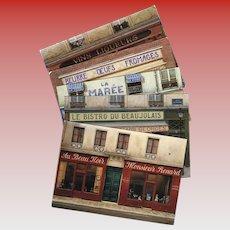 5 André Renoux Unused Vintage Postcards of Paris Storefronts