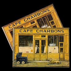 Paris Cafe Charbons by Naïve Artist Fanny Darnat Unused Vintage Postcard