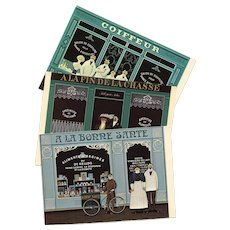 3 French Storefronts in Naive Style by Jan Balet Vintage Postcards circa 1980s