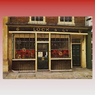 Famous Lock's Hat Shop of London Vintage Postcard by French Painter André Renoux Artist Signed