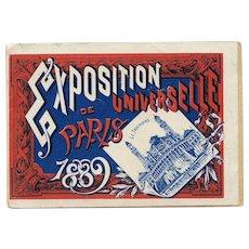 1889 Art Nouveau Paris Expo Booklet with Eiffel Tower Panorama Print