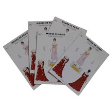 Vintage Modes de Paris Paper Doll Red Empire Gown Postcard