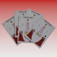 Vintage Modes de Paris Paper Doll Red Empire Gown Postcard