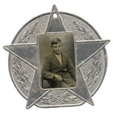 Embossed Silver Star Antique Scholar Award with Real Photo