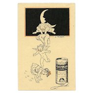 Pierrots, Angel and Toddler Playing Leap Frog Advertising Postcard for Malt Extract Artist Signed